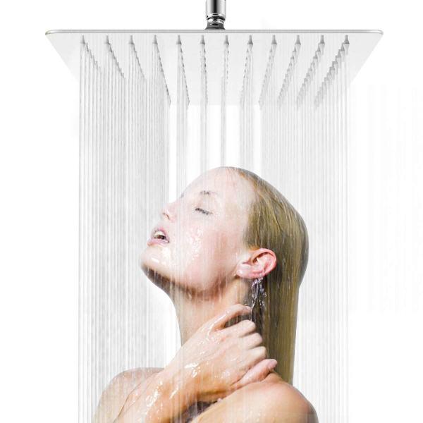 Awara 12 Inch Rain Shower Head, Square Ultra Thin 304 Stainless Steel Large Rainfall Shower Head Chrome Polish, Full Body Coverage Modern Waterfall Shower Head
