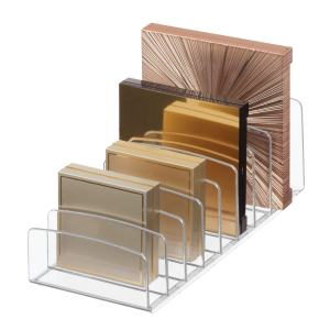 "iDesign Clarity BPA-Free Plastic Divided Makeup Palette Organizer, 9.25"" x 3.86"" x 3.2"", Clear"