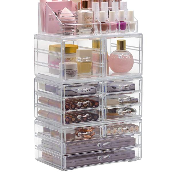 Sorbus Cosmetic Makeup and Jewelry Storage Case Display Organizer - Spacious Design - Great for Bathroom, Dresser, Vanity and Countertop (X Large - Style 2)