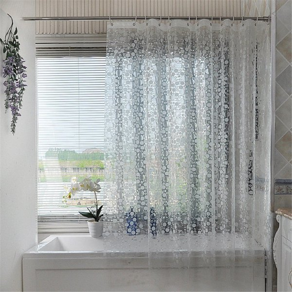 LUCKYHOUSEHOME Heavy Duty PEVA Semi-Transparent Shower Curtain Bathroom Waterproof with Frosted Circle Pattern 70 x 78 Inch Approx