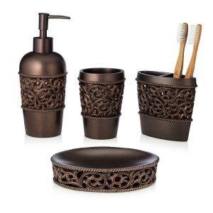 Essentra Home 4-Piece Bronze Bathroom Accessory Set, Complete Set Includes: Toothbrush Holder, Lotion Dispenser, Tumbler and Soap Dish