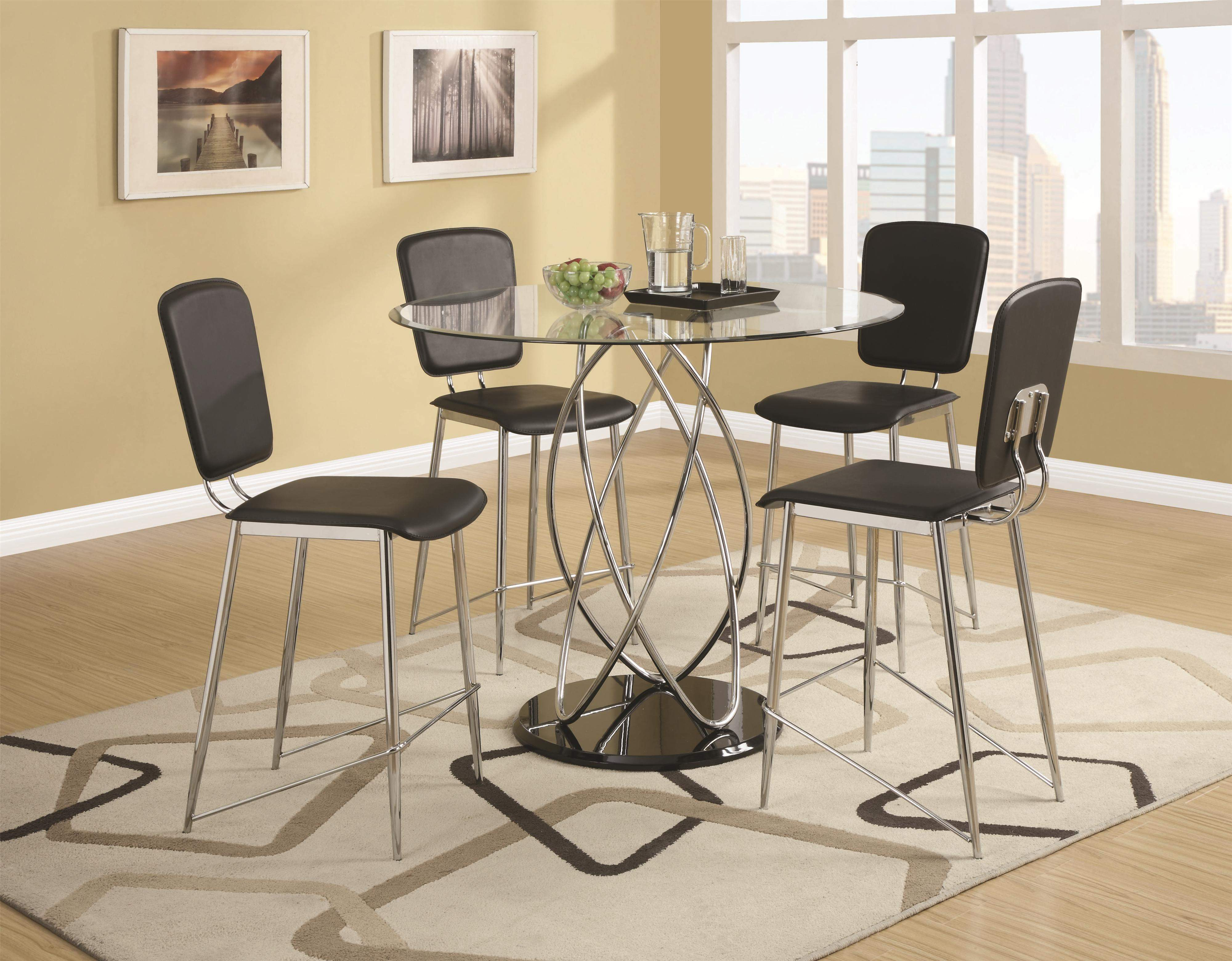 Ciccone Contemporary Glass Counter Height Table With