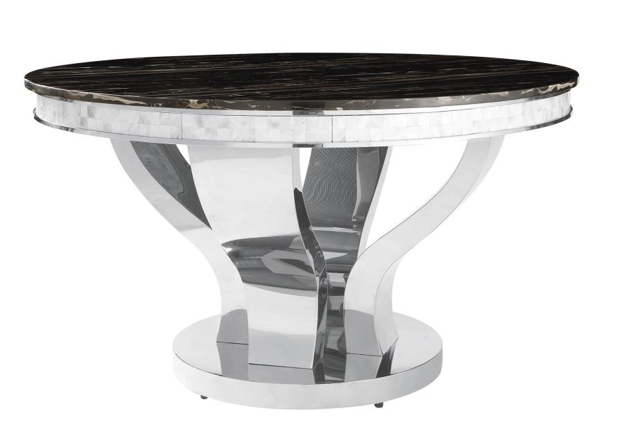 Anchorage Faux Marble And Chrome Stainless Steel 5 Piece Dining Table Set Quality Furniture At