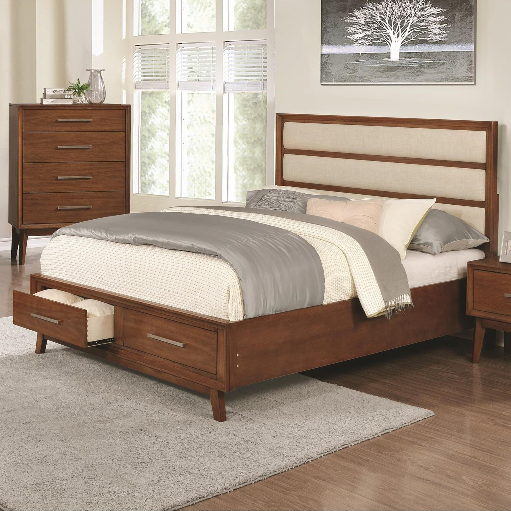 Banning Upholstered Panel California King Bed With 2