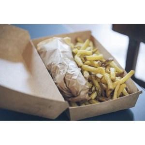 Boite allongée Delivery en kraft brun avec galette et frites - 22,5 x 12 x 7,5 cm