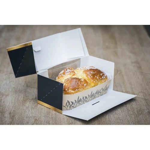 Boîtes pâtissières rectangulaires Noir et Or avec fenêtre