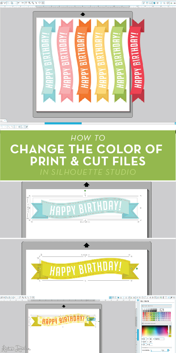How to change the color of print and cut files in Silhouette Studio | KatieJarman.com