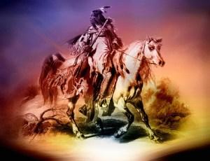 馬に乗るネイティブアメリカン