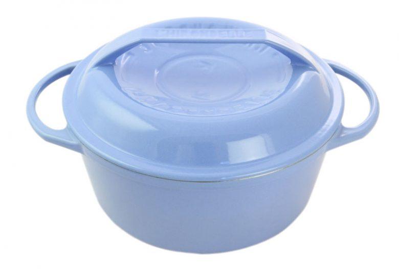リロンデル ステンレス鋳物ホーロー鍋『色選択』 浅型22㎝(水色) イメージ