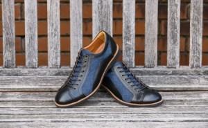 倭イズム 牛革×デニム紳士靴 YA3310 ブラック 24.5cm