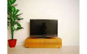 風雅 無垢材テレビボード テレビ台 W1200【開梱設置付き】ホワイトオーク スリット [SK104]