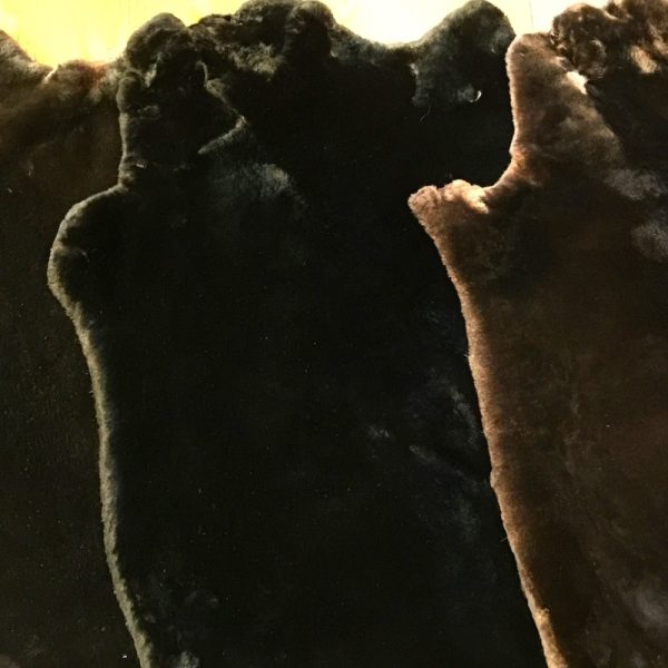 Hand plucked and sheared beaver pelts in Matara Brown and Black