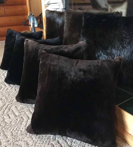 Sheared and Natural Beaver Fur Pillows