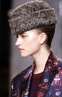 Model in a Persian lamb ambassador hat