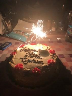 Sparklers on my Tzenaki cake. I still made a wish.