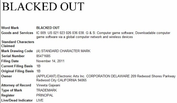 Blacked Out trademark application