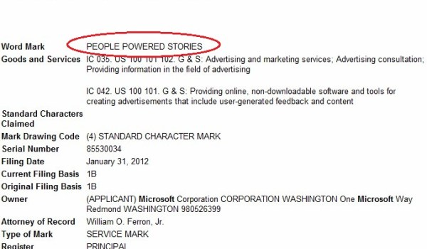 "Microsoft files trademark for ""People Powered Stories"", more Google bashing?"