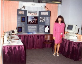 Emily Tamarkin manning one of the Tamar exhibits in 1992.