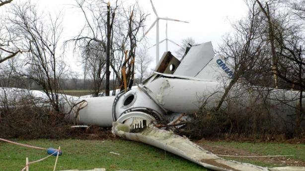collapsed turbine on the ground