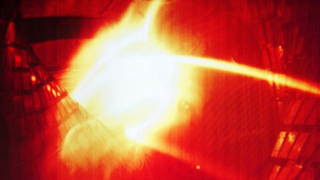 A colourised computer image shows the moment the first superhot plasma was created in a separate experiment at the Wendelstein 7-X nuclear fusion research centre at the Max-Planck-Institut for Plasma Physics (IPP) in Greifswald, Germany in December. Photo: EPA