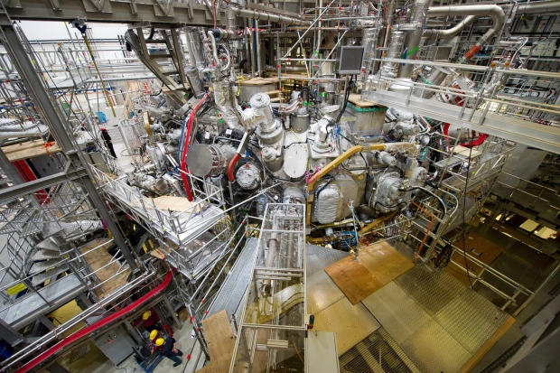 Known as the Wendelstein 7-X stellarator, or W7-X, the 400-million-euro ($609 million) device was first fired up in December using helium, which is easier to heat. (Stefan Sauer/Associated Press)