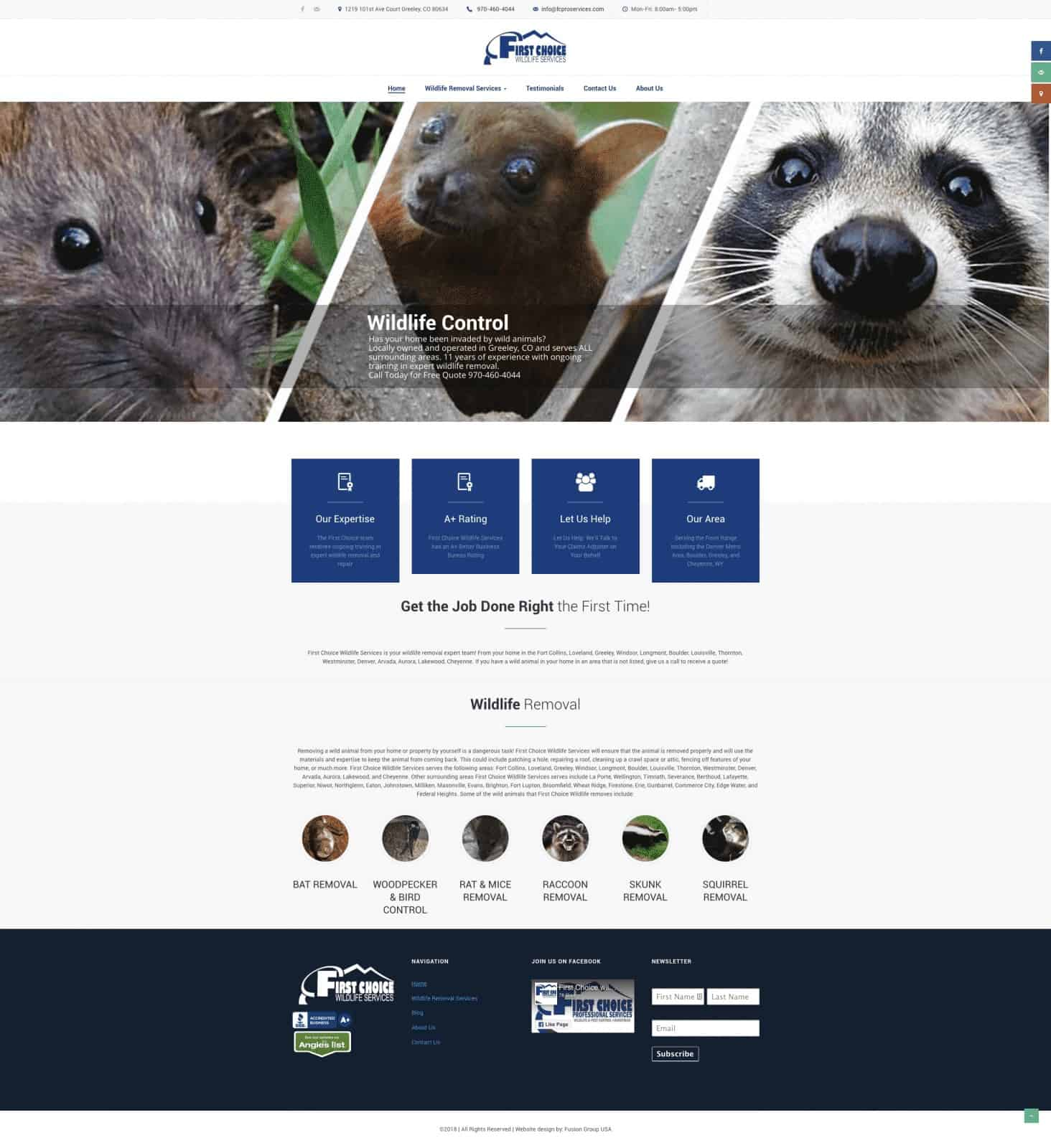 Wildlife Removal Company Website Design
