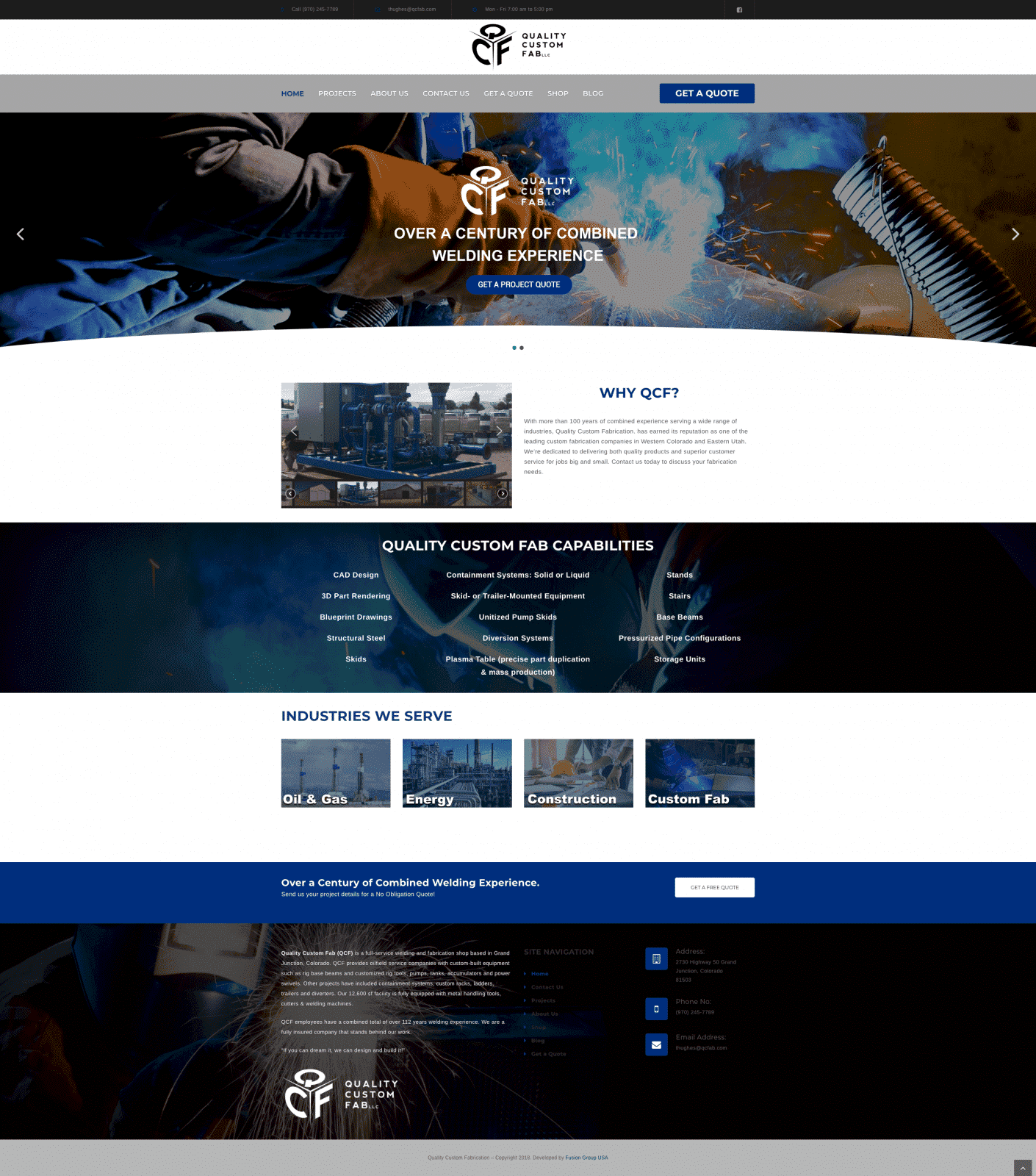 Custom Fabrication Website Design
