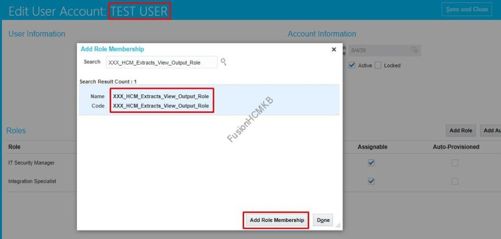 Adding Custom Role to User in fusion hcm security console custom role