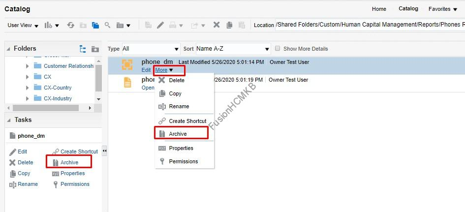 Archive options available for BI Publisher migration in fusion hcm oracle hcm cloud