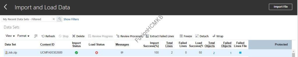HDL File errored scenario in import and load data screen fusion hcm