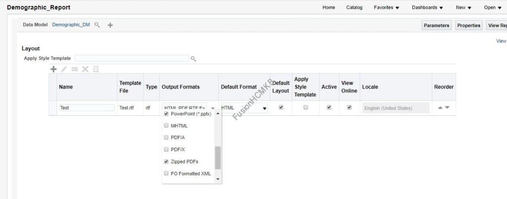 Enable the Zipped PDFs in the output formats for BI Report in Fusion HCM Oracle HCM Cloud
