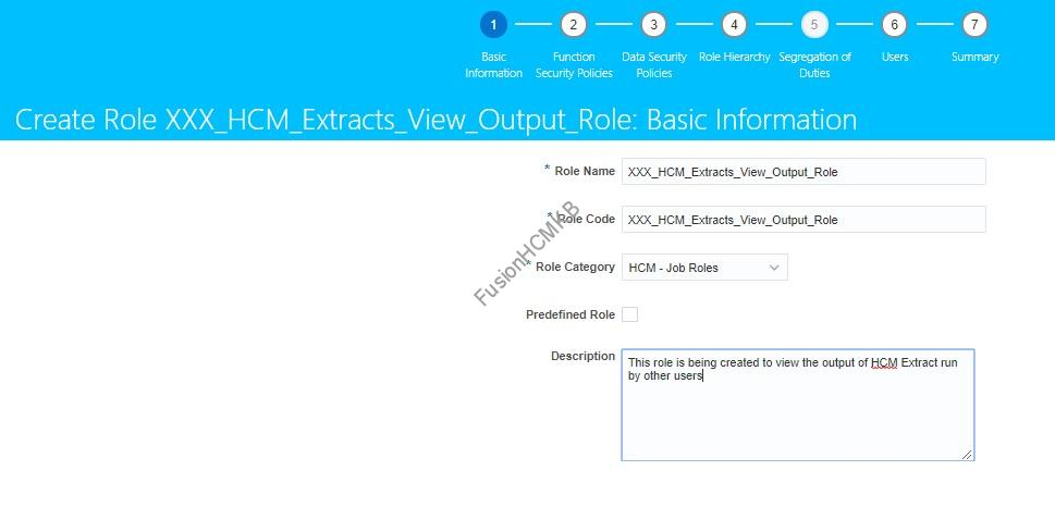 Role Creation for adding privilege to access hcm extract output of other users in fusion hcm
