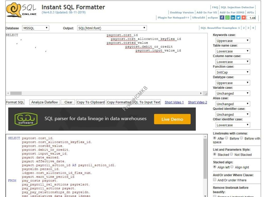 Formatting SQL Query easily in fusion hcm using SQL formatter