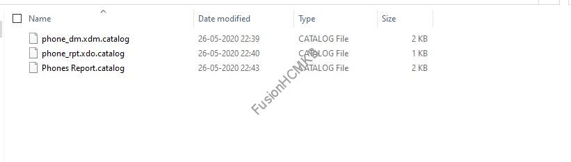 Snapshot of the archive files of data model, bi report and folder in fusion hcm oracle hcm cloud