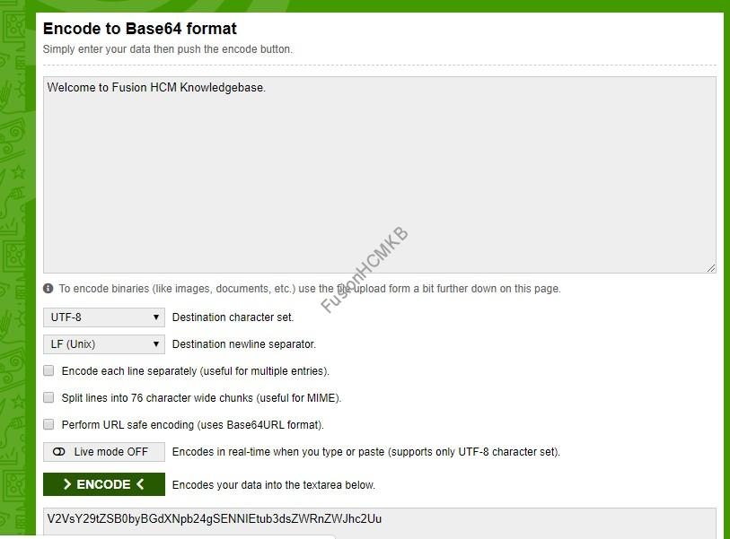 Base64 decode and encode online tool useful for uploading file to UCM and decoding bi report output fusion hcm