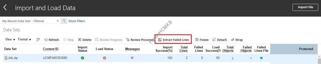 Click on Extract Failed Lines button in import and load data screen fusion hcm data loader