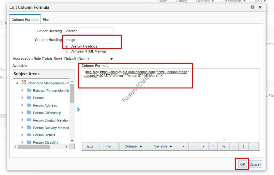 Adding formula to get the image displayed on OTBI in fusion hcm