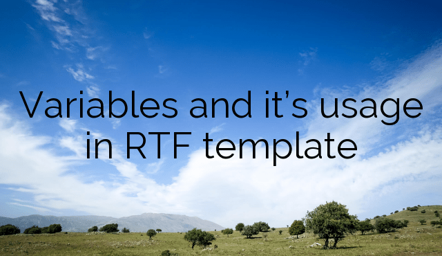 Variables and it's usage in RTF template