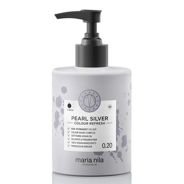 maria nila colour refresh bottle with black pump. hair colour pearl silver