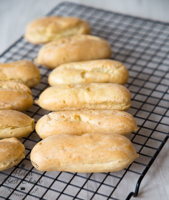 Eclair shells made from choux pastry. So easy to make with this method