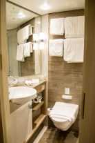 Bathroom in cabin on Riviera Cruises MS Jane Austen
