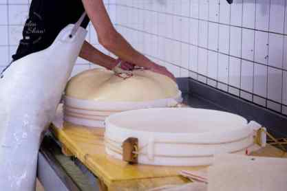 The cheese cloth is placed in a mould