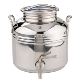 FUT INOX 3 litres avec robinet 1/4 de tour : Livré complet avec trépied, joint et robinet anti-goutte