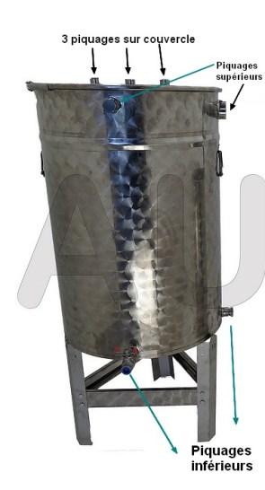 Photo ci-dessous FUT INOX de 100 litres avec option trepied