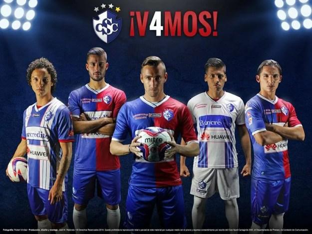 Tres uniformes diseñados por la Firma Lotto son la nueva indumentaria del Club Brumoso. Foto cortesía Dpto. de Prensa del Cartaginés.