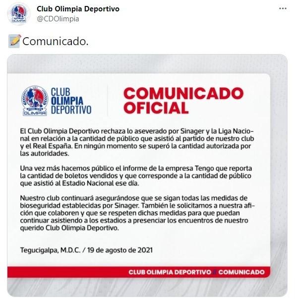 El comunicado emitido por Olimpia