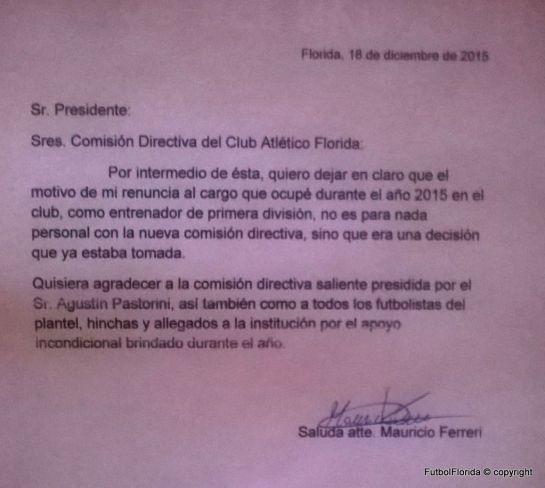 Copia del original de la misiva enviada a los medios por Ferreri