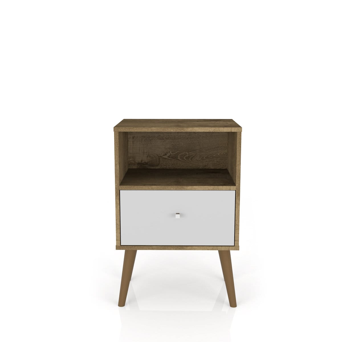 Liberty Mid Century Modern Rustic Brown White Nightstand 1 0 W 1 Cubby Space 1 Drawer By Manhattan Comfort