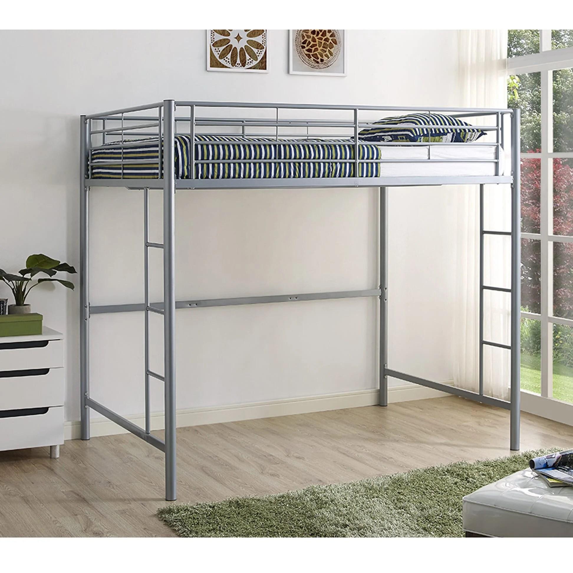 Metal Full Loft Bed Silver By Walker Edison