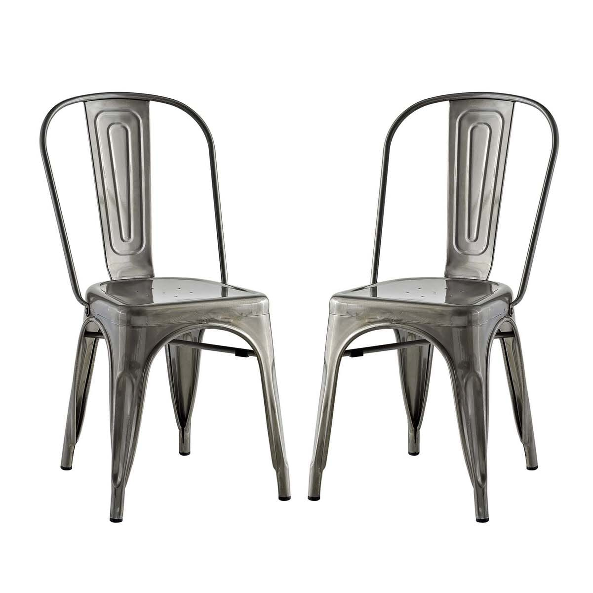 Promenade Set Of 2 Dining Side Chair Gunmetal By Modern Living